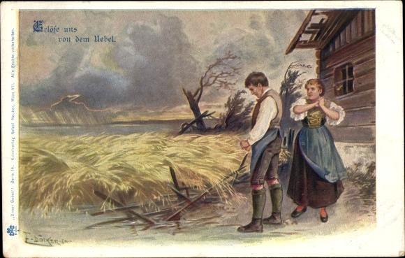 Künstler Ak Döcker, E., Erlöse uns von dem Übel, Betende Bauern