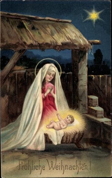 Präge Litho Frohe Weihnachten, Krippenszene, Maria betend über Jesuskind