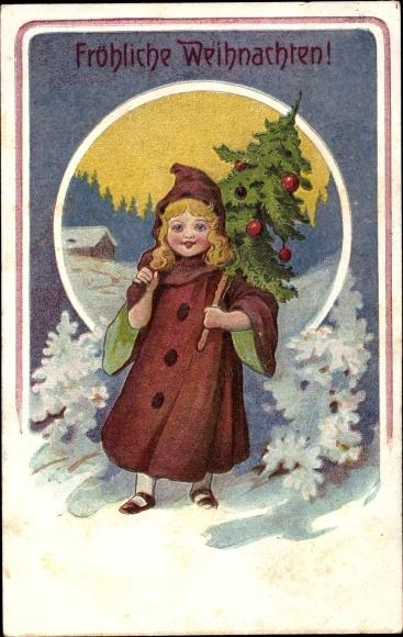 Präge Litho Frohe Weihnachten, Mädchen mit Tannenbaum, Mantel, Winterlandschaft