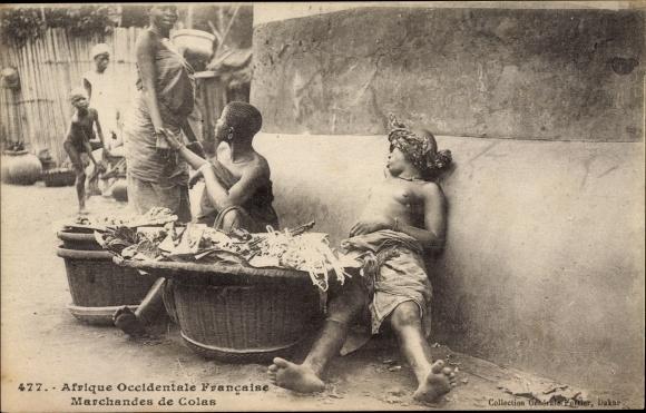 Ak Afrique Occidentale Française, Marchandes de Colas, Markthändlerinnen