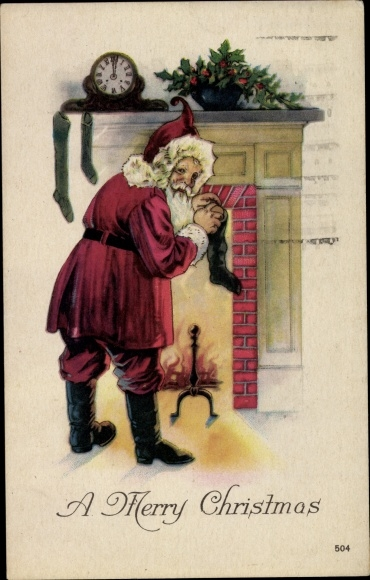 Ak Merry Christmas, Santa Claus, Frohe Weihnachten, Weihnachtsmann, Kamin, Uhr