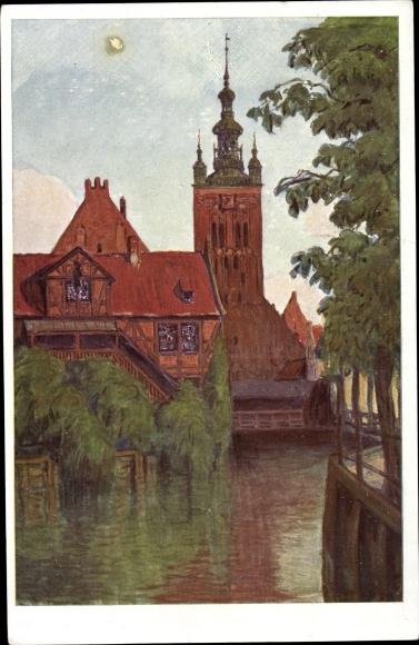 Künstler Ak Hellingrath, Berth., Gdańsk Danzig, Müllergewerkshaus, Katharinenkirche