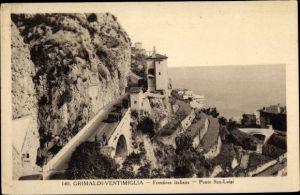 Ak Grimaldi di Ventimiglia Liguria, Frontiera italiana, Ponte San Luigi, italienische Grenze