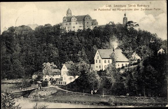 Ak Rochsburg Lunzenau, Gräfl. Schönburg, Schloss Rochsburg, Muldental, Hängebrücke, Zwickauer Mulde