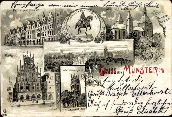 Litho Münster, Prinzipalmarkt, Denkmal Kaiser Wilhelm I., Rathaus, Liebfrauen u. Mauritz Kirche