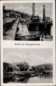 Ak Bergeshövede Hörstel in Westfalen, Anlegestelle, Dampfschiffe, Häuser, Blick vom Wasser aus