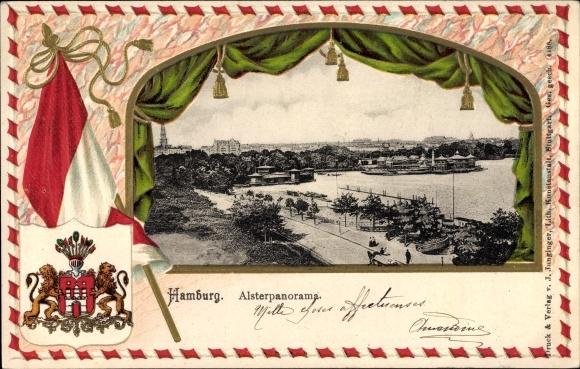 Passepartout Präge Wappen Ak Hamburg, Alsterpanorama, Promenade, Wappen der Stadt, Fahne