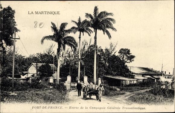 Ak Fort de France Martinique, Entrée de la Compagnie Générale Transatlantique, CGT