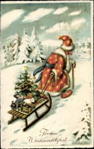Ak Frohe Weihnachten, Weihnachtsmann, Schlitten, Tannenbaum