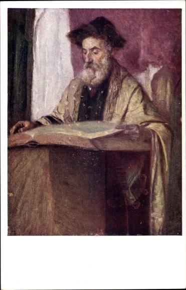 Künstler Ak Jüdischer Rabbiner, Synagoge, Tora, Judaika, BKWI 863/3