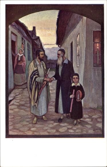 Künstler Ak Jüdische Familie, Schläfenlocken, Judaika, BKWI 198/6
