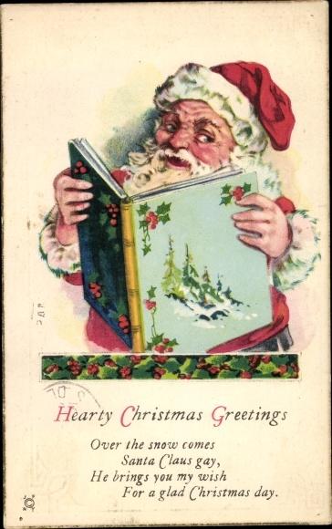 Präge Ak Christmas Greetings, Santa Claus, Frohe Weihnachten, Weihnachtsmann
