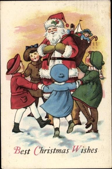 Präge Ak Christmas wishes, Santa Claus, Frohe Weihnachten, Weihnachtsmann