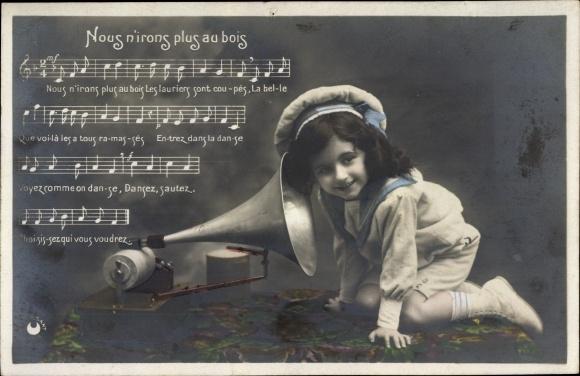 Lied Ak Nous n'irons plus au bois, Mädchen, Grammophon