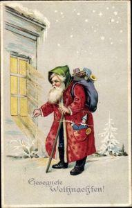 Ak Frohe Weihnachten, Weihnachtsmann, Geschenkesack