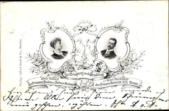 Ak Prinzessin Feodora von Sachsen Meiningen, Prinz Heinrich XXX. Reuss, Vermeählung 1898