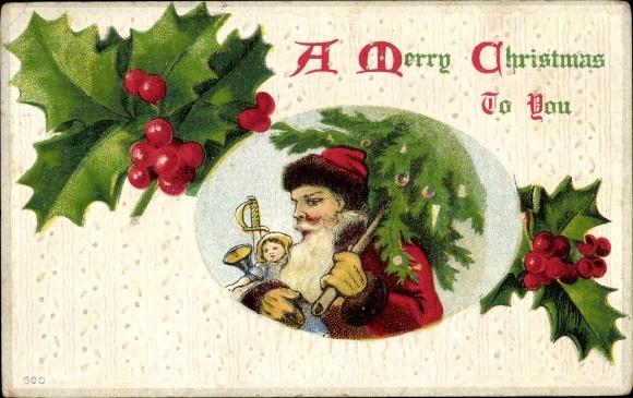 Präge Ak Frohe Weihnachten, Weihnachtsmann, Stachelpalmenblätter, Tanne