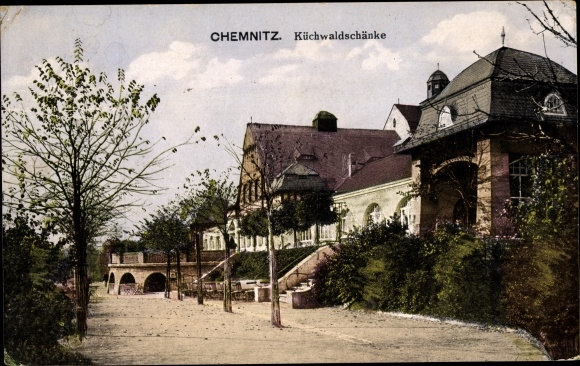 Ak Chemnitz Sachsen Kuchenwaldschanke Gesamtansicht Terrasse