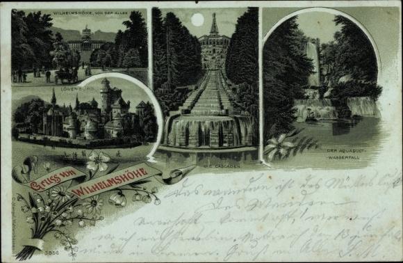 Mondschein Litho Bad Wilhelmshöhe Kassel Nordhessen, Löwenburg, Aquadukt Wasserfall, Cascaden