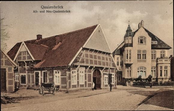 Ak Quakenbrück in Niedersachsen, Alt- und Neu-Quakenbrück, Straßenpartie