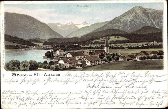 Litho Bad Aussee Steiermark, Totalansicht vom Ort, Dachstein