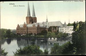 Ak Lübeck in Schleswig Holstein, Dom und Museum, Außenansicht, Teich
