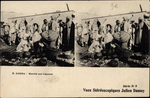 Stereo Ak Biskra Algerien, Händler auf dem Markt, Waren