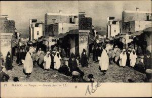 Stereo Ak Tanger Marokko, Grande Rue, Straße und Anwohner