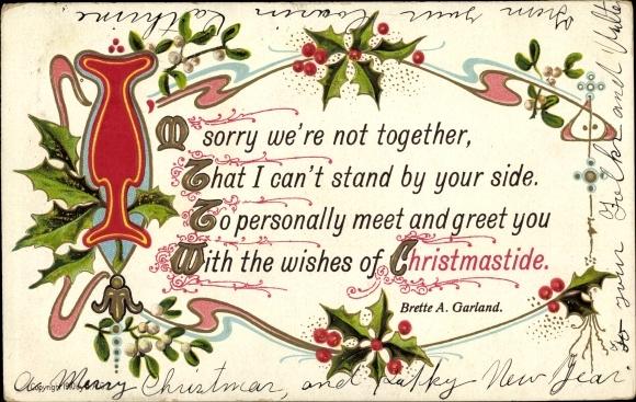 Präge Buchstaben Ak Frohe Weihnachten, Majuskel I