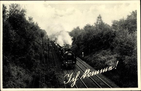 Ak Deutsche Eisenbahn, Dampflokomotive, Ich komme