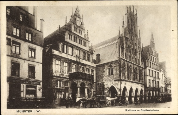 Ak Münster in Westfalen, Rathaus und Stadtweinhaus