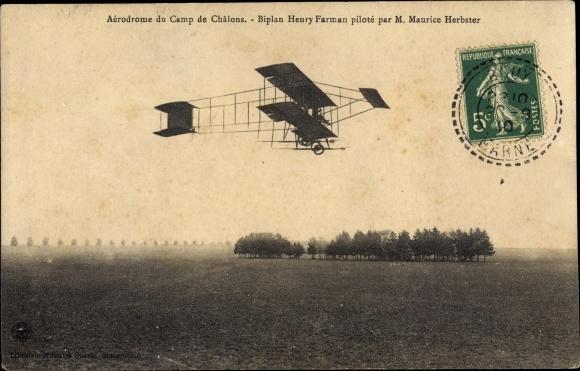 Ak Aérodrome du Camp de Châlons, Biplan Henry Farman piloté par Maurice Herbster