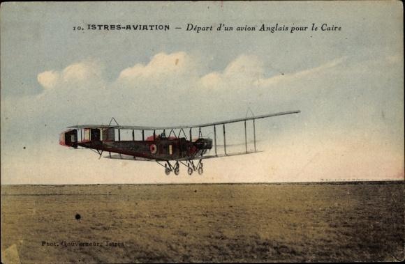 Ak Istres Bouches du Rhône, Départ d'un avion Anglais pour le Caire, Flugzeug