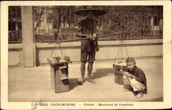 Ak Cholon Saigon Cochinchine Vietnam, Marchand de friandises