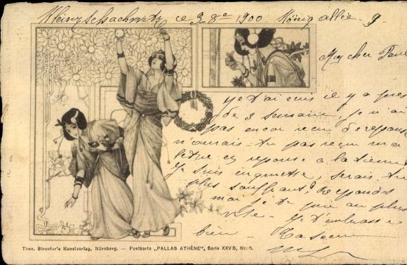 Jugendstil Ak Pallas Athene Serie XXV Nr. 5, drei junge Frauen in griechischer Kleidung, Stroefer