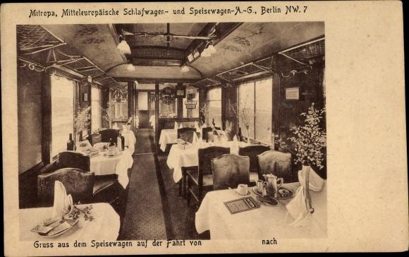 Ak Mitropa, Mitteleuropäische Schlafwagen- und Speisewagen AG, Speisewagen auf der Fahrt