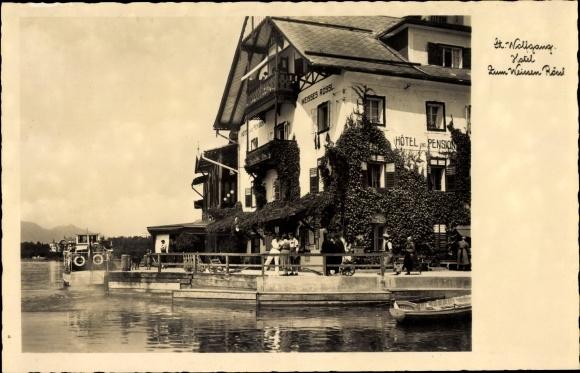 Ak St. Wolfgang im Salzkammergut Oberösterreich, Hotel zum weißen Rössl