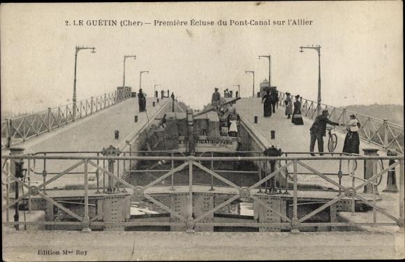 Ak Pont canal du Guétin Cher, Première Écluse du Pont Canal sur l'Allier