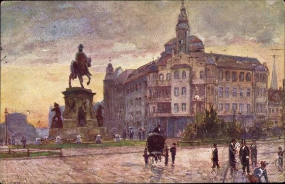 Künstler Ak Szczecin Stettin Pommern, Ecke Parade- und Königsplatz