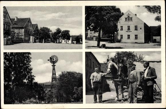 Ak Kottewitz Priestewitz Sachsen, Gasthof Rich. Schmidt, Pferd, Windrad