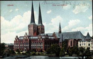 Ak Lübeck in Schleswig Holstein, Dom u. Museum, Uferpartie