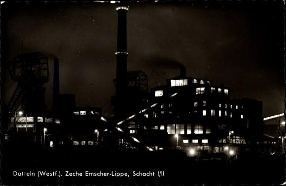 Ak Datteln im Ruhrgebiet, Zeche Emscher Lippe, Schacht I/II, Nacht