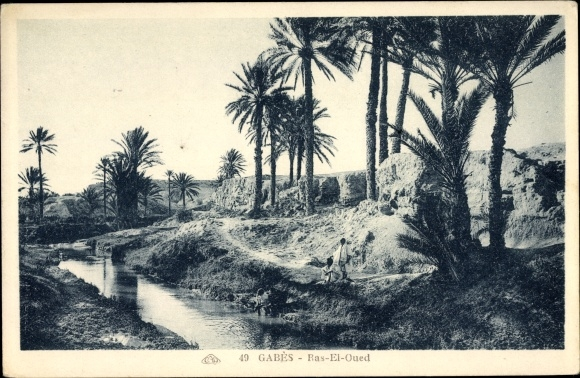 Ak Gabes Tunesien, Ras El Oued, Flusspartie, Palmen