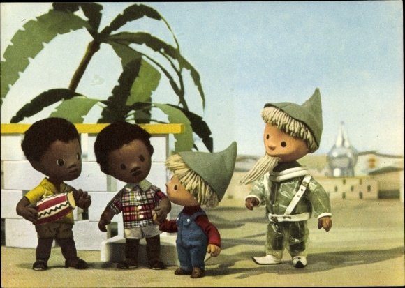 Ak Unser Sandmännchen, Sandmann, DDR Kinderfernsehen, Afrika, Raumanzug, 6247