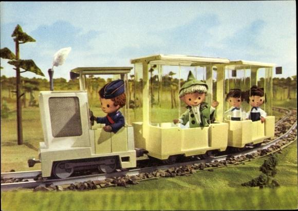 Ak Unser Sandmännchen, Sandmann, DDR Kinderfernsehen, Eisenbahn, 6250