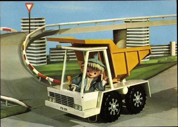 Ak Unser Sandmännchen, Sandmann, DDR Kinderfernsehen, Kipplader, 6245