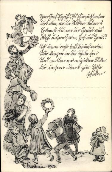Künstler Ak Skarbina, Franz, Herr Graf, erzähl, ist's schön zu schweben, Kinder, Schüler
