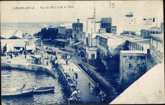 Ak Casablanca Marokko, Vue du Port et de la Ville, Hafen, Teilansicht der Stadt