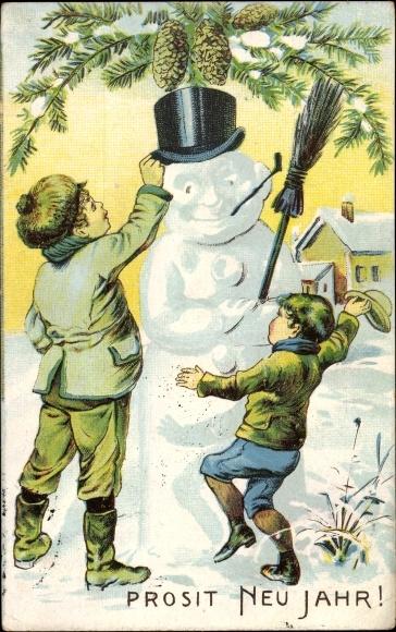 Ak Glückwunsch Neujahr, Schneemann, Kinder, Tannenzapfen