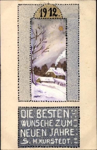 Handgemalt Ak Glückwunsch Neujahr, 1912, S. H. Kurstedt, Winterszene